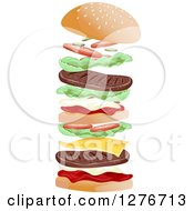 Clipart Of A Double Cheeseburger Shown Falling Into Place Royalty Free Vector Illustration