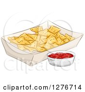 Clipart Of A Carton Of Nacho Tortilla Chips With Salsa Royalty Free Vector Illustration