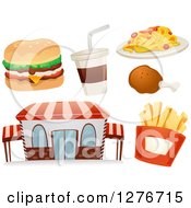 Clipart Of A Fast Food Restaurant Building With A Cheeseburger Soda Chicken Drumstick Spaghetti And French Fries Royalty Free Vector Illustration by BNP Design Studio