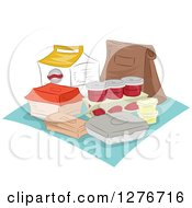 Clipart Of A Picnic With Takeout Containers Royalty Free Vector Illustration by BNP Design Studio