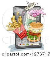 Clipart Of A Sketched Smart Phone With Fast Food Items Popping Out From The Screen Royalty Free Vector Illustration