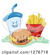 Clipart Of Grinning Evil Fountain Soda Cheeseburger And French Fries Royalty Free Vector Illustration