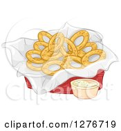 Clipart Of A Basket Of Onion Rings And Dipping Sauce Royalty Free Vector Illustration