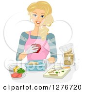 Clipart Of A Happy Blond White Lunch Lady Preparing Meals Royalty Free Vector Illustration by BNP Design Studio