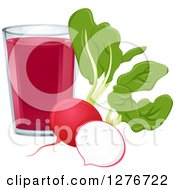 Clipart Of A Glass Of Vegetable Juice With Radishes Royalty Free Vector Illustration
