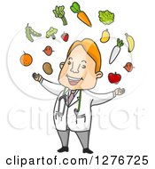 Happy Red Haired Male Doctor Juggling Fruits And Veggies