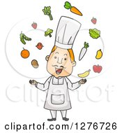 Clipart Of A Happy Red Haired Male Chef Juggling Fruits And Veggies Royalty Free Vector Illustration by BNP Design Studio