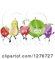 Clipart Of A Happy Strawberry Avocado Apple Watermelon And Grapes Walking Together Royalty Free Vector Illustration