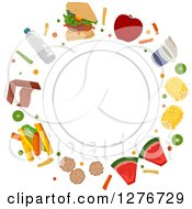 White Plate Encircled With Healthy And Junk Foods
