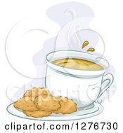 Clipart Of A Plate Of Cookies And Hot Coffee Royalty Free Vector Illustration