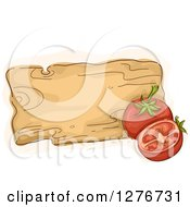 Clipart Of A Sketched Wooden Board With Tomatoes Royalty Free Vector Illustration