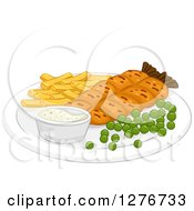 Clipart Of A Meal Of Fish And Chips With Peas Royalty Free Vector Illustration by BNP Design Studio