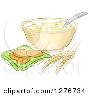 Clipart Of Oatmeal Cookies Wheat And A Bowl Royalty Free Vector Illustration by BNP Design Studio