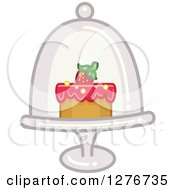 Clipart Of A Cake In A Stand And Dome Royalty Free Vector Illustration