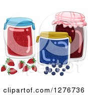 Clipart Of Jars Of Fruit Jams Royalty Free Vector Illustration