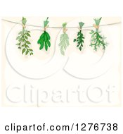Clipart Of A Border Of Herbs Being Hung To Dry Over Beige Text Space Royalty Free Vector Illustration by BNP Design Studio
