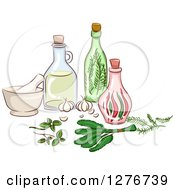 Clipart Of Herbal Oils A Mortar And Pestle And Bottles Royalty Free Vector Illustration by BNP Design Studio