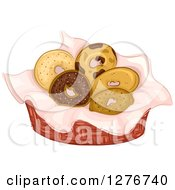Clipart Of A Basket Of Assorted Bagels Royalty Free Vector Illustration by BNP Design Studio