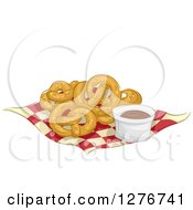 Clipart Of Soft Pretzels And Chocolate Dip On A Napkin Royalty Free Vector Illustration by BNP Design Studio