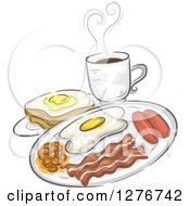 Breakfast Meal Of Coffee Toast Eggs Bacon Sausage And Pork And Beans