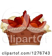 Clipart Of A Basket Of Appetizer Buffalo Wings Royalty Free Vector Illustration