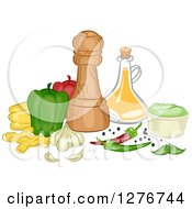Clipart Of Vegetables And Herbs With Condiments And Bottles Royalty Free Vector Illustration