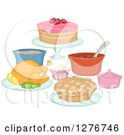 Clipart Of Potluck Foods With A Roasted Chicken Pie And Cake Royalty Free Vector Illustration