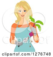 Happy Blond White Woman Holding Beets And A Gardening Trowel