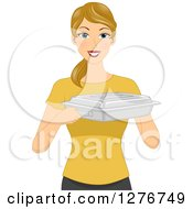 Clipart Of A Happy Blond White Woman Holding Up A Food Warmer Royalty Free Vector Illustration