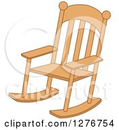 Clipart Of A Wood Rocking Chair Royalty Free Vector Illustration by BNP Design Studio
