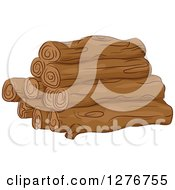 Clipart Of A Pile Of Firewood Logs Royalty Free Vector Illustration by BNP Design Studio