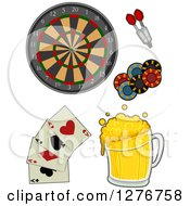 Clipart Of A Dart Board Darts Poker Chips Playing Cards And Beer Royalty Free Vector Illustration by BNP Design Studio