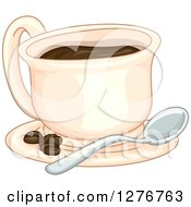 Clipart Of A Coffee Cup On A Saucer With A Spoon And Beans Royalty Free Vector Illustration by BNP Design Studio