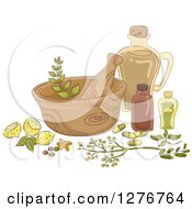 Clipart Of A Mortar And Pestle With Lemons And Herbal Medicine Royalty Free Vector Illustration