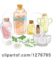 Clipart Of A Mortar And Pestle With Essential Oils Royalty Free Vector Illustration