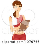 Clipart Of A Brunette White Female Personal Fitness Trainer Writing Notes On A Clipboard Royalty Free Vector Illustration