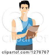 Clipart Of A Handsome Young Male Personal Trainer Writing On A Clipboard Royalty Free Vector Illustration
