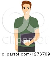 Clipart Of A Happy Brunette White Male Blogger Holding A Notepad And Laptop Royalty Free Vector Illustration