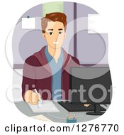 Clipart Of A Handsome White Man Using A Graphic Design Tablet At A Computer Royalty Free Vector Illustration by BNP Design Studio