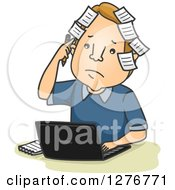 Cartoon Forgetful White Businessman With Sticky Notes On His Head Using A Laptop Computer