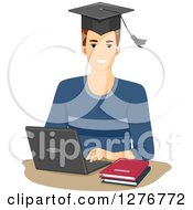 Clipart Of A Young White Graduate Man Using A Laptop Computer For Online Courses Royalty Free Vector Illustration