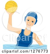 Clipart Of A Happy White Female Water Polo Player Holding Up A Ball Royalty Free Vector Illustration by BNP Design Studio