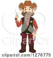 Clipart Of A Brunette White Cowboy Sheriff Man Holding A Pistol Royalty Free Vector Illustration by BNP Design Studio
