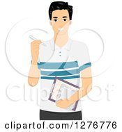 Clipart Of A Handsome Black Haired Designer Man Holding A Stylus Clipboard And Tablet Royalty Free Vector Illustration