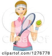 Clipart Of A Happy Dirty Blond Tennis Player Holding A Ball And Racket Royalty Free Vector Illustration by BNP Design Studio