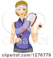 Clipart Of A Happy Dirty Blond Squash Player Holding A Ball And Racket Royalty Free Vector Illustration by BNP Design Studio