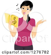 Clipart Of A Pretty Asian Music Teacher Singing From A Book Royalty Free Vector Illustration