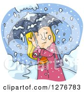 Cold Blond White Woman Walking With An Umbrella In A Blizzard
