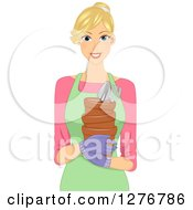 Blond White Woman Holding Gardening Tools And Pots