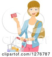 Clipart Of A Happy Dirty Blond White Woman Holding A Discount Coupon And Pushing A Shopping Cart Royalty Free Vector Illustration by BNP Design Studio